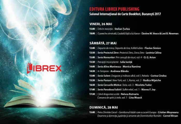 Programul evenimentelor editurii Librex Publishing la Salonul Internațional de Carte Bookfest, București 2017