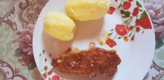 Ciorbă de conopidă - Friptură cu cartofi natur