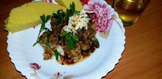 Tocăniţă de ciuperci cu praz şi carne de porc
